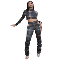 Trendy Chic Plaid Two Piece Outfits High Neck Long Sleeve Pullover Crop Top And Stacked Trousers