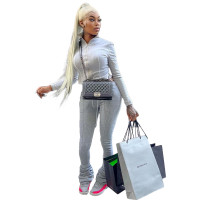 Casual Grey Thick Zipper High Neck Stacked Sweatpants Two Piece Winter set