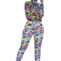 Casual Two Piece Butterfly Pattern Printed Fashion Set