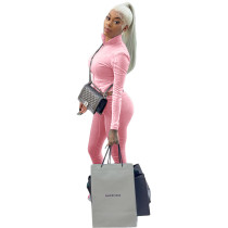 Casual Pink Thick Zipper High Neck Stacked Sweatpants Two Piece Winter set