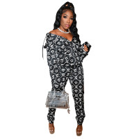 Casual Hot Selling Star Diamond Print Pattern Long Sleeve Hooded Pants Two Piece Set