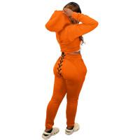Winter Sports Long Sleeve Two Piece Orange Printed Bandage Sweatshirt Hooded Set For Women