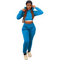 Winter Sports Long Sleeve Two Piece Hoodie Bandage Sweatpant Lake Blue Set For Women