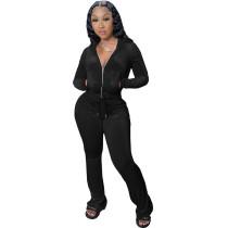 Winter Black Velvet Zipper Hoodie Set Pockets Wide Leg Pant Set For Women