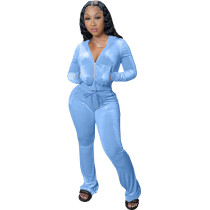 Winter Sky Blue Velvet Zipper Hoodie Set Pockets Wide Leg Pant Set For Women