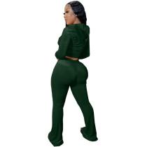 Winter Green Velvet Zipper Hoodie Set Pockets Wide Leg Pant Set For Women