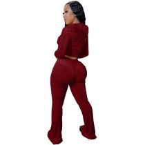 Winter Wine Red Velvet Zipper Hoodie Set Pockets Wide Leg Pant Set For Women