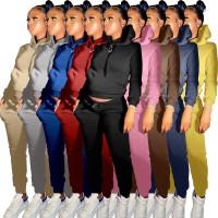 Winter Casual Khaki Skinny Hoodie Sweatsuits Matching Sets 2 Two Piece Set Tracksuit