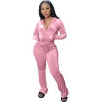 Winter Pink Velvet Zipper Hoodie Set Pockets Wide Leg Pant Set For Women