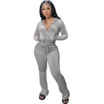 Winter Grey Velvet Zipper Hoodie Set Pockets Wide Leg Pant Set For Women