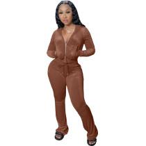 Winter Coffee Velvet Zipper Hoodie Set Pockets Wide Leg Pant Set For Women