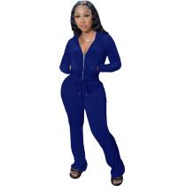 Winter Royal Blue Velvet Zipper Hoodie Set Pockets Wide Leg Pant Set For Women