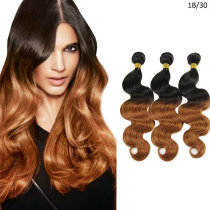 1B/30 Natural Black and Light Auburn Two Long Ombre Hair Extensions