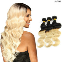 1B/613 Natural Black and Beach Blonde Two Tones Brazilian Ombre Hair Extensions