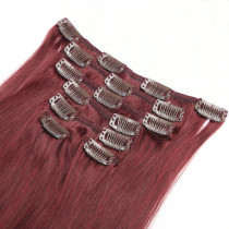 99J# Plum Colour Remy Human Hair Clip In Extensions Silky Straight