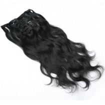 1B Natural Black 22 Inches Loose Wave Brazilian Human Hair Clip In Extensions