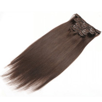2# Dark Brown Virgin Brazilian Human Hair Extensions Clip On Double Drawn Straight