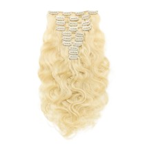 60# Lightest Ash Blonde Clip In Human Hair Extensions Loose Wave