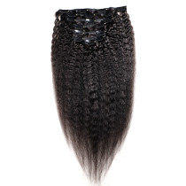 Yaki Curly Clip In Hair Extensions 1B# Natural Black Colour