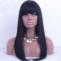 Natural Black Colour Silk Straight Brazilian Hair Full Lace Wigs 130% Density