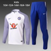 Kids Chelsea Training Suit White Stripe 2017/18