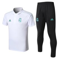 Real Madrid Polo + Pants Training Suit White 2017/18