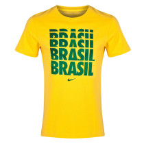 Brazil Retro NIKE T-Shirt Yellow Letters Men's