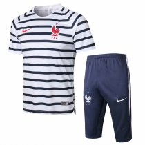 France FIFA World Cup 2018 Short Training Suit White Black Stripe