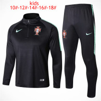 Kids Portugal FIFA World Cup 2018 Training Suit Zipper Black