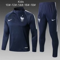 Kids France FIFA World Cup 2018 Training Suit Zipper Blue
