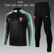 Kids Portugal FIFA World Cup 2018 Training Suit Zipper Black Stripe