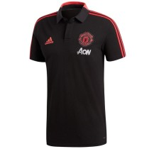 Manchester United Polo Shirt Black AON 2018