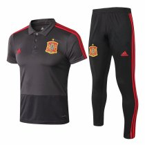 Spain FIFA World Cup 2018 Polo + Pants Training Suit Grey