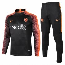 Netherlands 2018 Training Suit Black Stripe