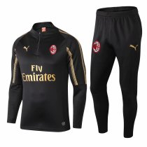 AC Milan Training Suit Gold Logo Black 2018/19