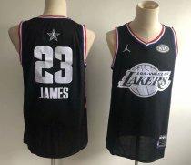 2d8f97eb0c1a Men s Los Angeles Lakers LeBron James 23 Jordan Brand Black 2019 NBA All-Star  Game