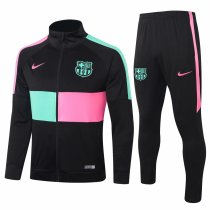 Mens Barcelona Jacket + Pants Training Suit High Collar Black 2020/21