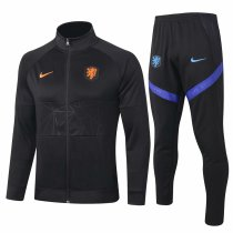 Mens Netherlands Jacket + Pants Training Suit Black 2020/21