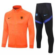 Mens Netherlands Jacket + Pants Training Suit Orange 2020/21