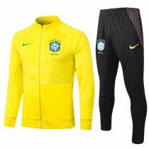 Mens Brazil Jacket + Pants Training Suit Yellow 2020/21