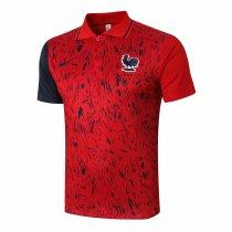 Mens France Polo Shirt Red - Black 2020/21