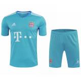 Bayern Munich Goalkeeper Blue Jersey + Shorts Set Mens 2020/21