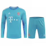 Bayern Munich Goalkeeper Blue Long Sleeve Jersey + Shorts Set Mens 2020/21
