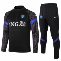 Mens Netherlands Training Suit Black 2020/21
