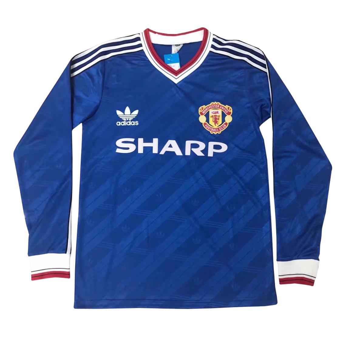 US$ 19.80 - Manchester United Retro Away Jersey Long Sleeve Mens 1986/1987 - www.fcsoccerworld.com