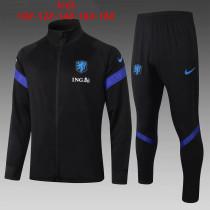 Kids Netherlands Jacket + Pants Training Suit Black - Blue 2020/21