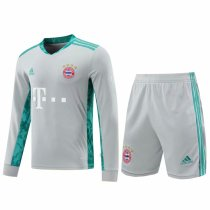 Bayern Munich Goalkeeper Grey Long Sleeve Jersey + Shorts Set Mens 2020/21