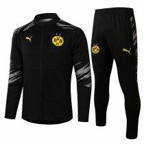 Mens Borussia Dortmund Jacket + Pants Training Suit All Black 2020/21
