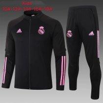Kids Real Madrid Jacket + Pants Training Suit Black 2020/21