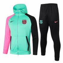 Mens Barcelona Hoodie Jacket + Pants Training Suit Green 2020/21